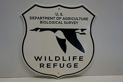 """WILDLIFE REFUGE PLAQUE. of Agriculture Biological Survey enamel 14.6"""" by 14"""""""