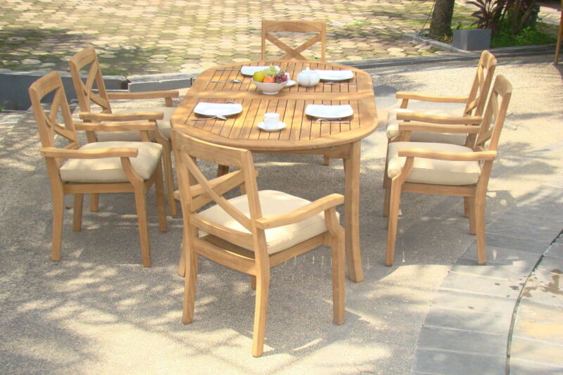 "7-piece Outdoor Teak Dining Set: 94"" Oval Ext Table, 6 Stacking Arm Chairs Grand"