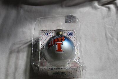 (University of Illinois Illini Glass Christmas Ornament Licensed New Fighting USA)