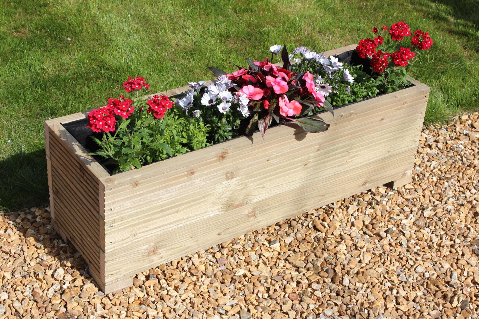 Red 44cm Square Large Wooden Garden Planter Trough Plant
