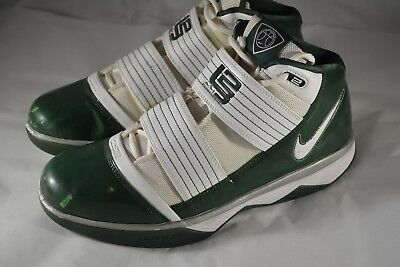 0bb68519b86 Mens NIKE LEBRON JAMES Zoom Soldier III 3 Green White Basketball Shoes Size  10.5