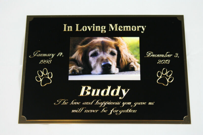 """PET MEMORIAL 5""""X7"""" BRASS CUSTOM ENGRAVED PLAQUE WITH YOUR PICTURE DOG CAT BIRD"""