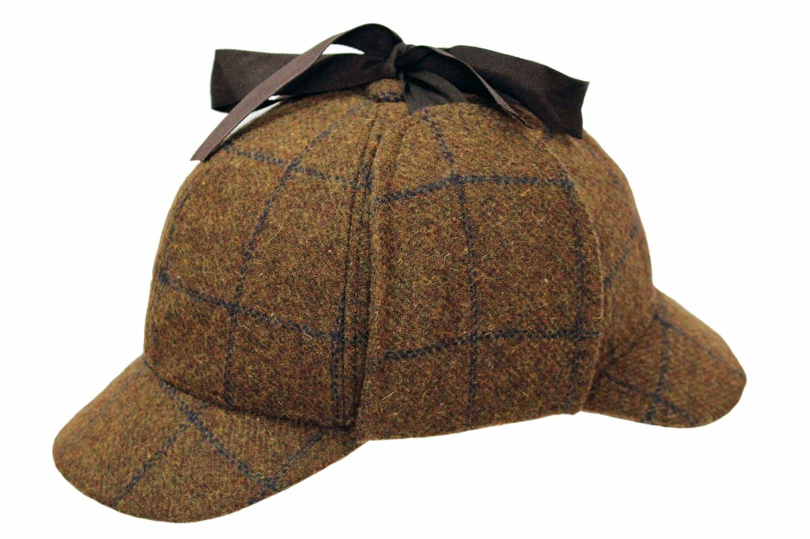 100% Lana Campo Tweed Sherlock Holmes Gorro de cazador caza Oreja solapas 5772febc323