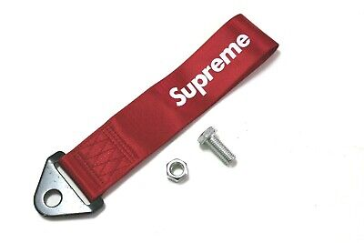 JDM High Strength SUPREME Racing Tow Strap for Front Rear Bumper Towing Hook Red