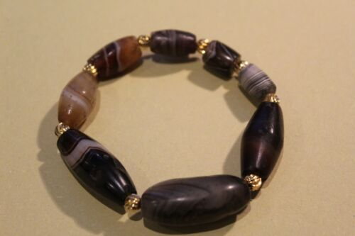 2000yrs+ ancient western asian/ Tibetan banded agate bracelet #201812