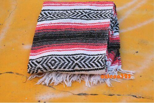 "Authentic Peach Coral Mexican Falsa Blanket Woven Yoga Mat Blanket 72"" x 49"""