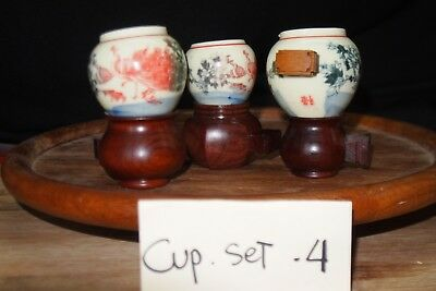 Ceramic Bamboo Bird cage cup/bowl set 4