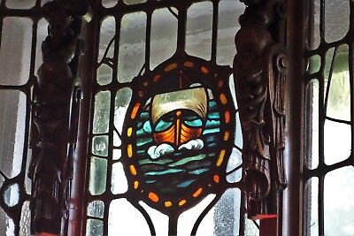 19C Gothic/Arts & Crafts Leaded/Stained Glass Architectural Carved Bay Window