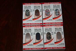 Sally Hansen Salon Effects Real Nail Polish Strips Twin Packs - Lot of 4!