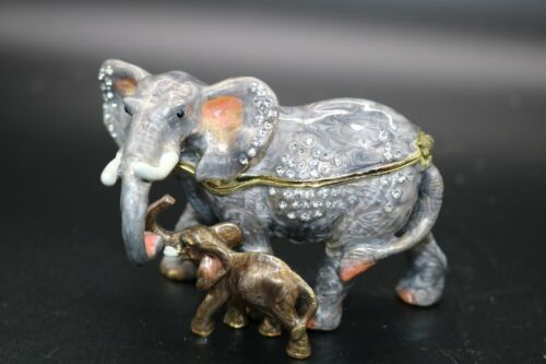 Fancy Crystal  Elephant with Baby Jeweled Enamel Trinket Box  Animal