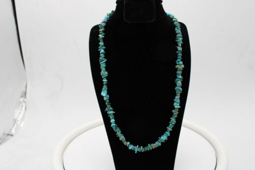 """Turquoise Nugget 17"""" Bead Necklace by Navajo Artist"""