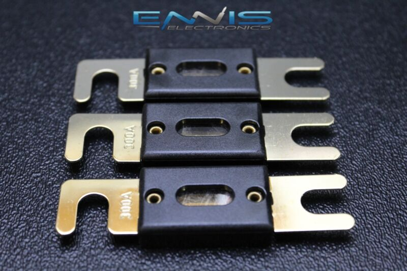 3 PACK 300 AMP ANL FUSE FUSES GOLD PLATED INLINE WAFER HIGH QUALITY HOLDER