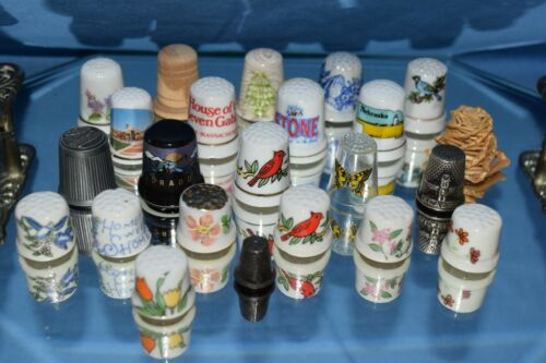 Lot of 23 Novelty Thimbles of Various Designs, Themes and Materials.