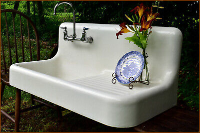 """1928 Porcelain Over Cast Iron 42"""" Vintage Antique Farmhouse Farm Sink (We Ship!)"""