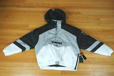 NFL Oakland Raiders Removable Hooded Half Zip Jacket Team Apparel Mens Size XL