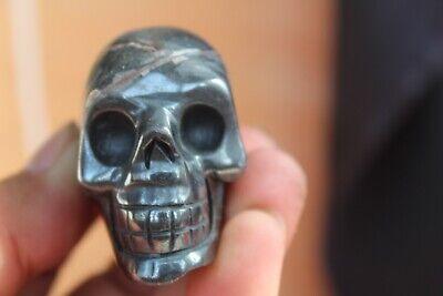 192g NATURAL black Magnetite Carved Crystal Skull Crystal Healing