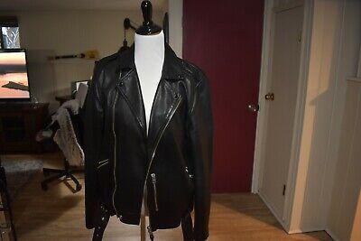 ALL SAINTS Mens Biker Leather Jacket, Black, Size MEDIUM, Pre-Owned