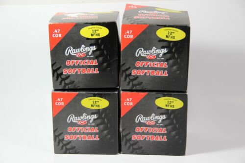 "(4) Rawlings Official Softball Leather Cover 12"" NFHS .47 Cor Yellow NEW"