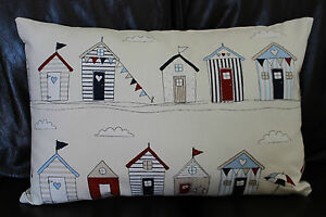 Cushion-cover-Handmade-Beach-huts-navy-red-beige-on-cream-Shabby-chic