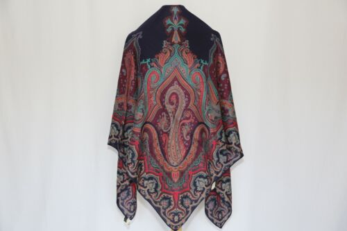 Authentic CUOMO Made in Italy vintage wool silk blend scarf Paisley Shawl Large