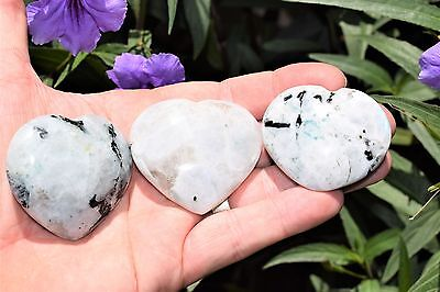 [1] Himalayan Rainbow Moonstone Crystal Puffy Heart / Palm Stone Healing Reiki