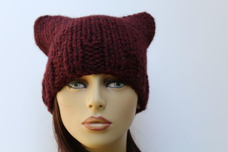 Chunky Hand Knit Unisex Burgundy Handmade Pussy Cat Hat