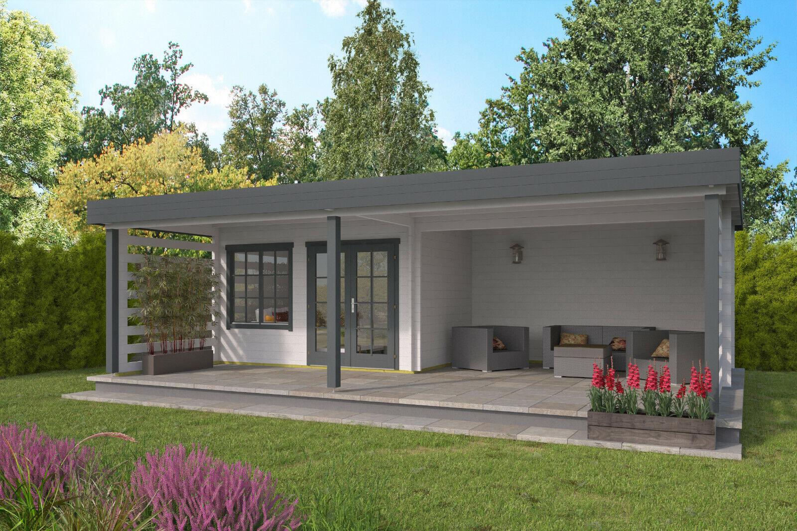 40mm Gartenhaus ISO-Glas 820x490cm Pavillon Holz Überdachung Holzhaus Schuppen