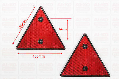 2 Stück Dreieck Rückstrahler PKW Anhänger Dreieckrückstrahler Reflektor Rot