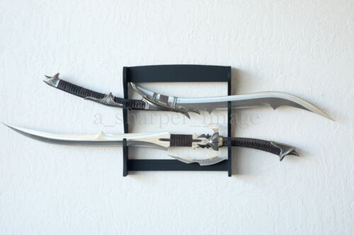 Two Tier Black Wood Wall Mount Sword Collectable Display Rack Large GOOD QUALITY
