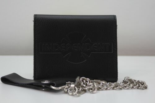 Vintage Independent Trucks 100% Split Leather Trifold Wallet Chain
