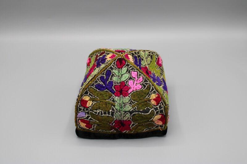 Vintage Hand Embroidered Yarmulka Kippah Hat Jewish Judaica Green Pink Red