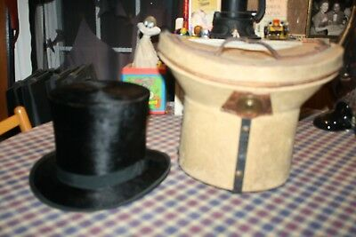 ANTIQUE BEAVER SKIN TOP HAT WITH ANTIQUE CASE - Beaver Skin Top Hat