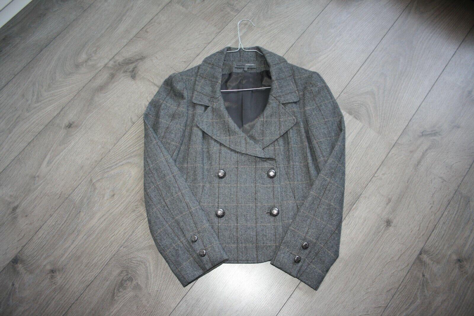 Neuf : teenflo, veste / blazer tweed gris en laine, t36