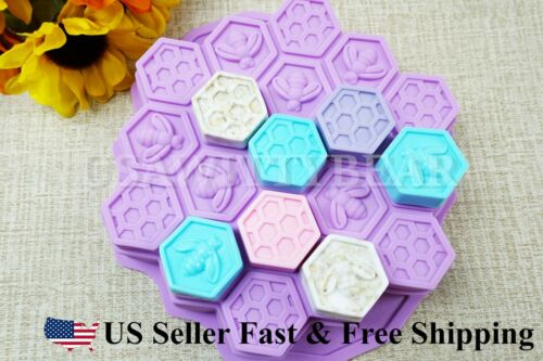 19-Hole Honeycomb Silicone DIY Handmade Soap Candy Chocolate Cake Cookie Mold