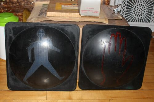 Vintage Traffic Pedestrian Traffic Light Plate Walk and Dont Walk Sign