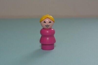 Vintage Fisher Price Little People WHOOPS Lady Mom Pink Body Yellow Hair