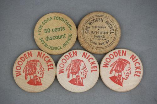 Vintage Wooden Nickels Lot of 5