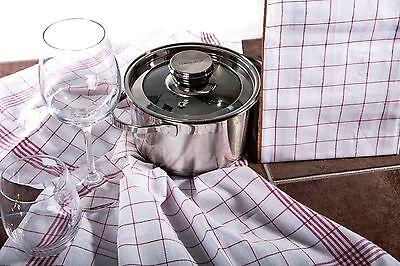 TK Home Textiles 10 Stück Geschirrtücher 100% Baumwolle kochfest, chlorecht rot