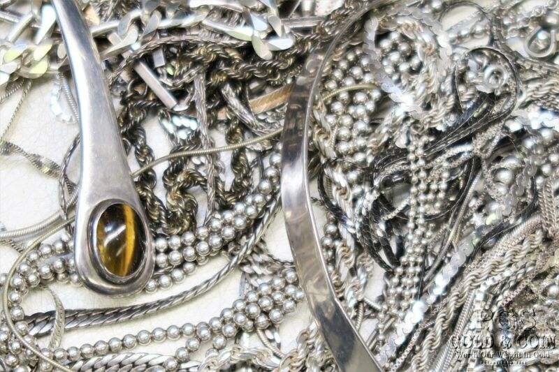 Bulk Lot Asst Sterling Silver Chains Necklaces incl Signed 1000 dwt 19489