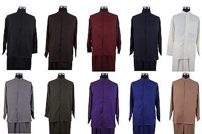 Men's Mandarin Collar Long Sleeve Casual Shirt Pants Set/Walking Suit M2826