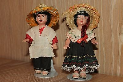 Vintage Kaiser Chicago Hand Painted Porcelain Doll Set Girl & Boy with Stands