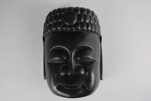 A Chinese happy sleepy fat Buddha Mask black hard dark wood face monk smiling