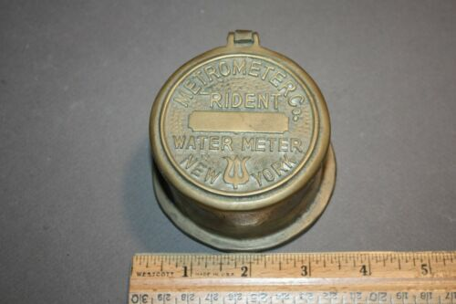 VTG BRASS METROMETER METRO METER CO. TRIDENT WATER METER NEW YORK TRINKET BOX