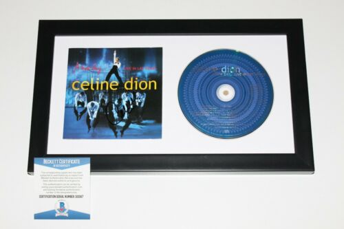 CELINE DION SIGNED FRAMED 'A NEW DAY LIVE IN LAS VEGAS' CD COVER BECKETT COA BAS