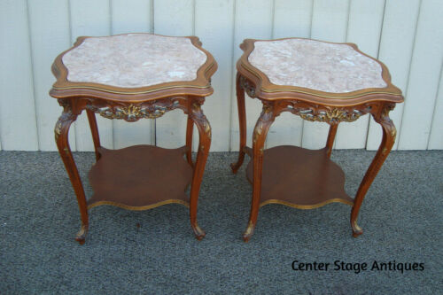 60754 Pair Marble Top French Provincial Lamp Table Nightstands