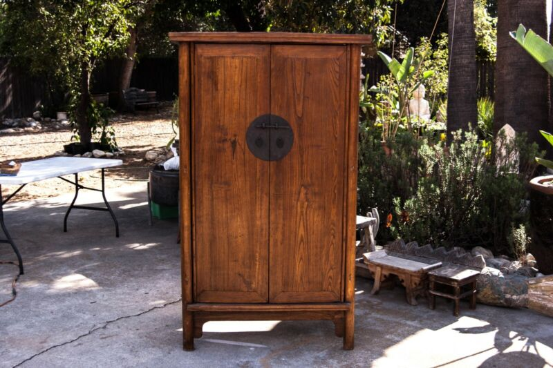 Antique Chinese Elm Wood Rustic Cabinet