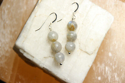 Gray Gemstone Earrings - Labradorite Ball Natural Gemstone Earrings 925 Sterling Silver Hooks Gray