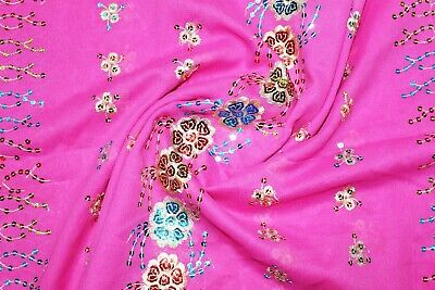 Vtg Indian Pink Sari Silk Wrap Hand Dyed,Heavily Beaded Pink Scarf 44 x 100