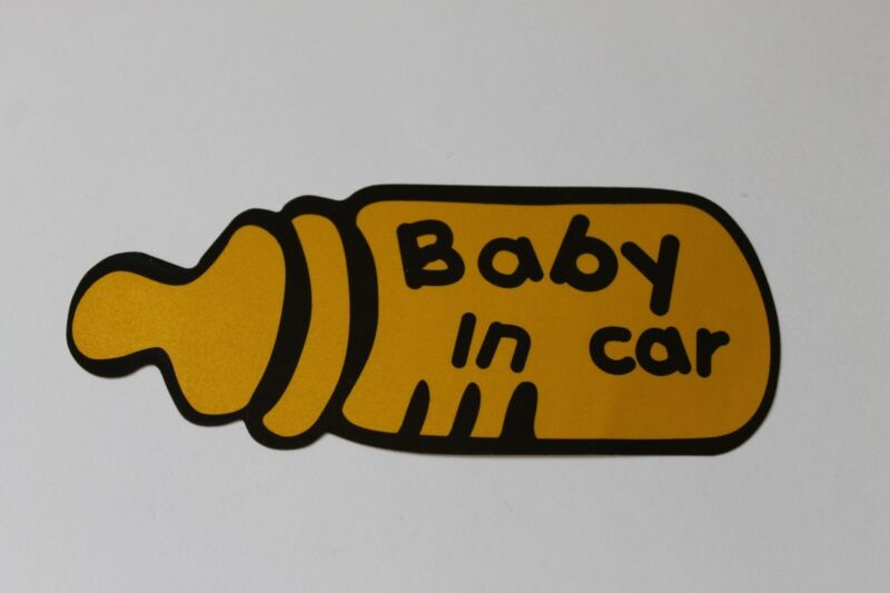 Baby In Car Baby on board Milk Bottle Car Safety Decal Sticker