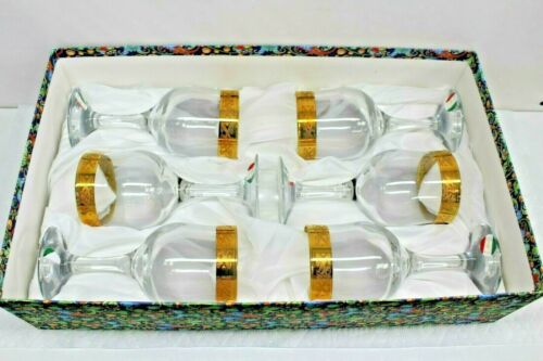 F.lli Fumo Set of 6 Original Italian Hand Made Gold Rimmed Wine Glasses.